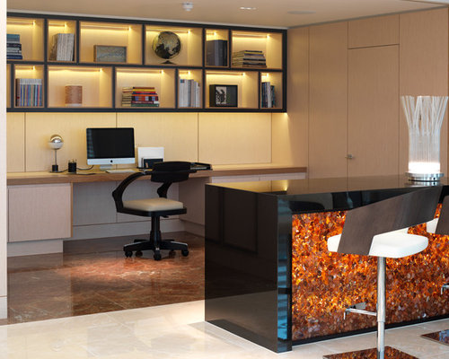 alcove office. inspiration for a contemporary builtin desk brown floor study room remodel in london with alcove office l