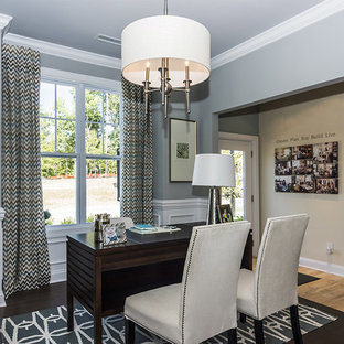 Home office - traditional home office idea in Raleigh with gray walls