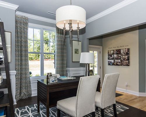 Attractive Traditional Home Office Idea In Raleigh With Gray Walls