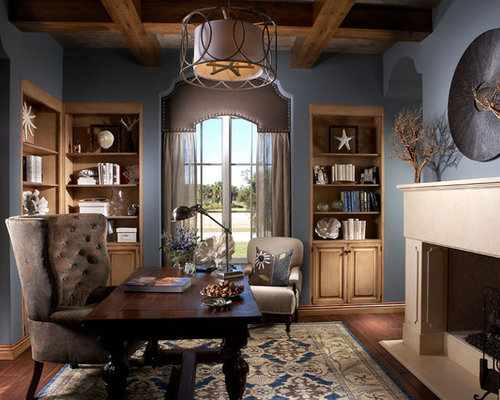 Inspiration For A Timeless Home Office Remodel In Other With Blue Walls