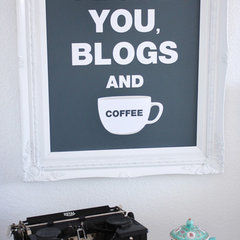 "eclectic home office madebygirl-I love you, blogs & coffee"" print"