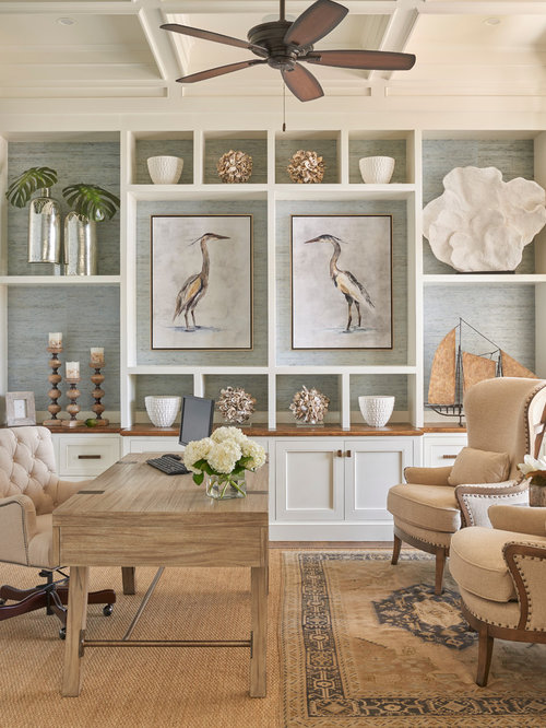 Example of a coastal home office design in atlanta