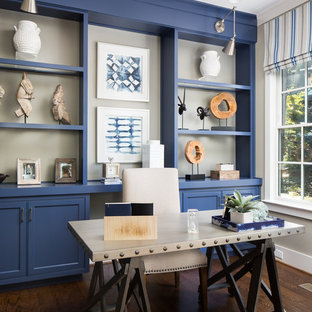Inspiration For A Transitional Freestanding Desk Dark Wood Floor And Brown Study Room Remodel In