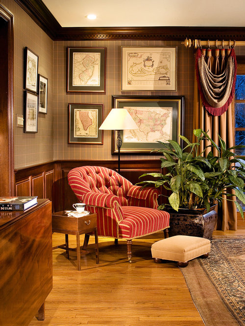 Plaid wallpaper houzz - Traditional home office design ...