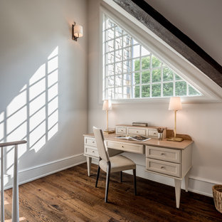 Inspiration for a transitional freestanding desk dark wood floor study room remodel in Philadelphia with gray walls