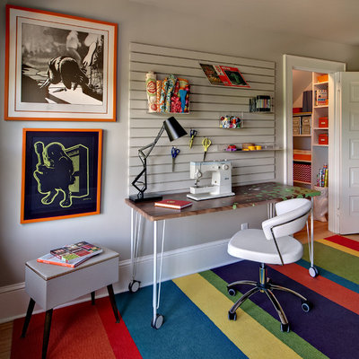 Inspiration for a contemporary freestanding desk home office remodel in Minneapolis with gray walls