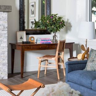 Home Office   Beach Style Freestanding Desk Dark Wood Floor And Brown Floor Home  Office Idea