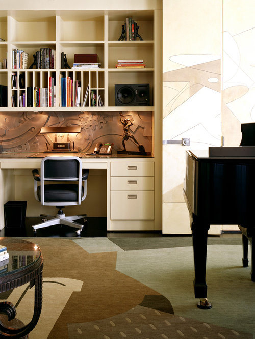 Inspiration For An Eclectic Built In Desk Home Office Remodel In New York