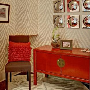 Example of a zen home office design in Atlanta