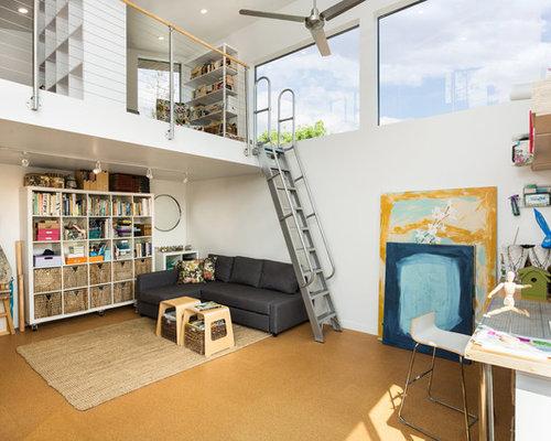 kleine arbeitszimmer mit korkboden ideen design bilder houzz. Black Bedroom Furniture Sets. Home Design Ideas