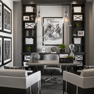 Inspiration For A Transitional Freestanding Desk Carpeted And Gray Floor  Study Room Remodel In Phoenix With