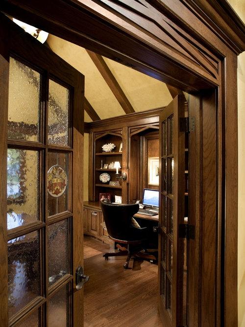 traditional builtin desk home office idea in columbus