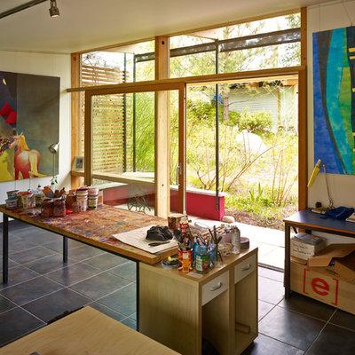 Home studio - contemporary freestanding desk home studio idea in Vancouver with white walls