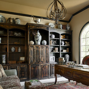 Home office - traditional freestanding desk home office idea in Kansas City with beige walls