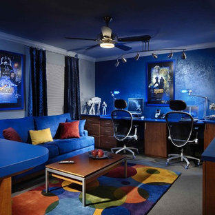 Example of a trendy home office design in Miami