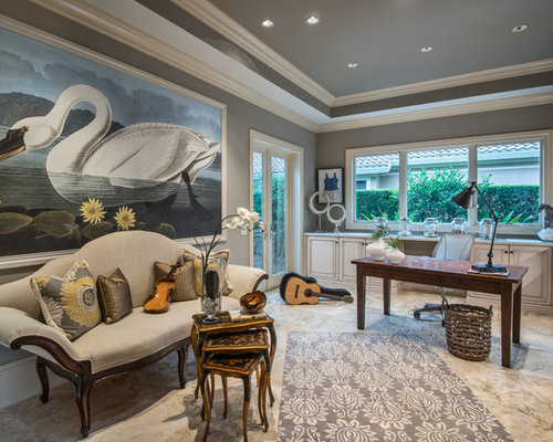 Mid Sized Tuscan Home Office Photo In Miami With Gray Walls Beige Floors