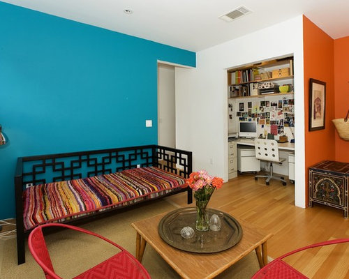 Inspiration For An Eclectic Medium Tone Wood Floor Home Office Remodel In San Francisco With Blue