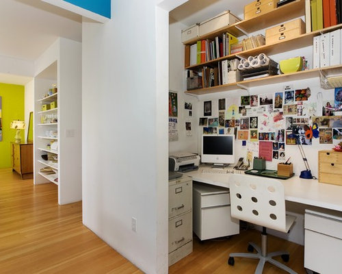 Desk Built Into Closet closet converted into office space | houzz