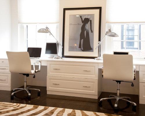 Contemporary Built In Desk Dark Wood Floor Home Office Idea In Boston