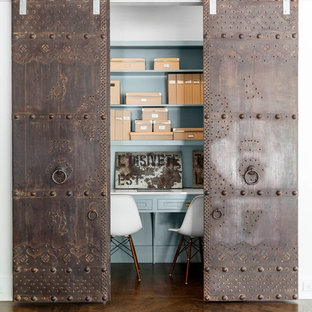 Inspiration for a contemporary built-in desk dark wood floor home office remodel in Dallas with blue walls and no fireplace