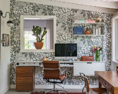 Example Of A 1960s Home Office Design In Miami With Gray Walls Built