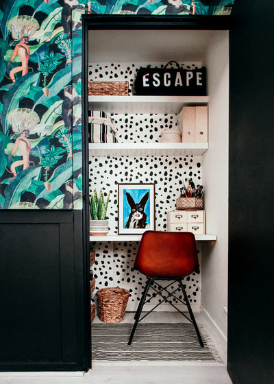 Eclectic Home Office micro home office