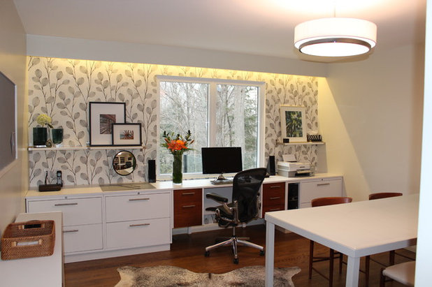 Midcentury Home Office by Primed By Design Inc