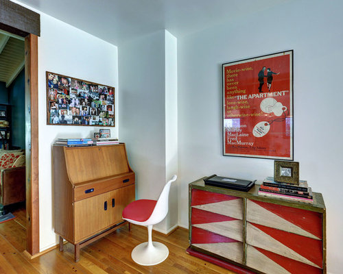 1960s freestanding desk medium tone wood floor home office idea in Los  Angeles with white walls. Dutch Furniture   Houzz