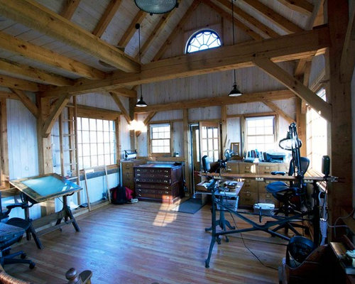 timber frame home interiors. Example of a small mountain style medium tone wood floor home studio design  in Boston Interior Timber Frame Houzz