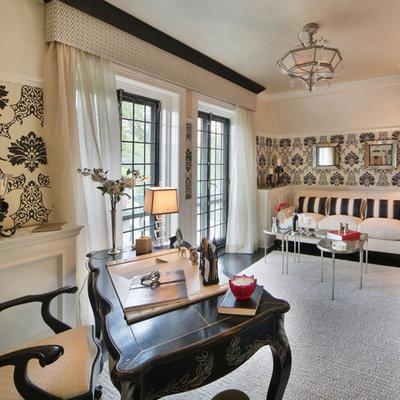 Study room - large contemporary freestanding desk dark wood floor study room idea in New York with beige walls