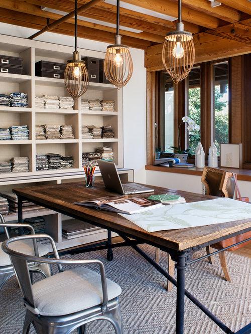 Trendy Freestanding Desk Medium Tone Wood Floor Home Studio Photo In San  Francisco With White Walls. Save Photo. Jute Interior Design
