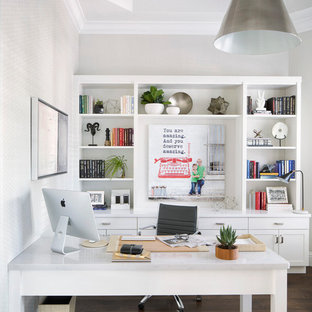Charmant Study Room   Transitional Freestanding Desk Dark Wood Floor Study Room Idea  In Miami With White