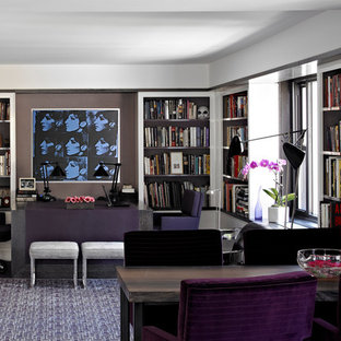 Home office - contemporary built-in desk home office idea in New York with gray walls