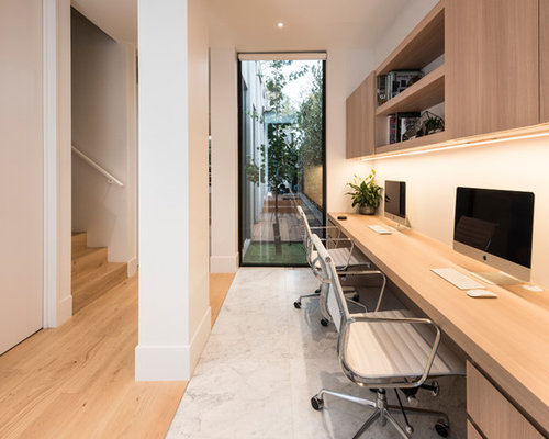 Mid Sized Contemporary Home Office In Melbourne With White Walls, A Built In