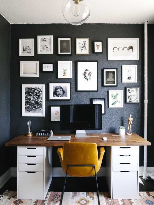 Inspiration For A Mid Sized Scandinavian Freestanding Desk Study Room  Remodel In Boston With Black