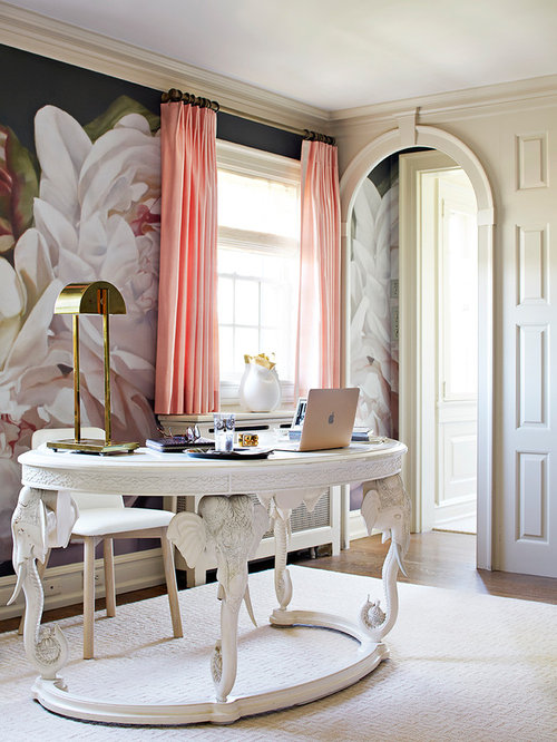example of a classic freestanding desk study room design in other with multicolored walls houzz interior ideas office designs52 designs
