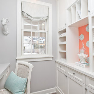 Example of a trendy home office design in Minneapolis with gray walls