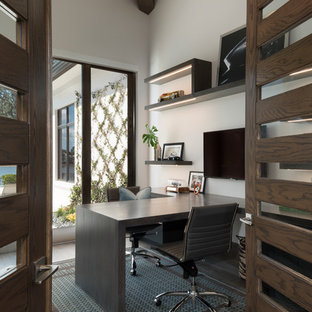 75 Most Popular Medium Sized Modern Home Office And Library ...