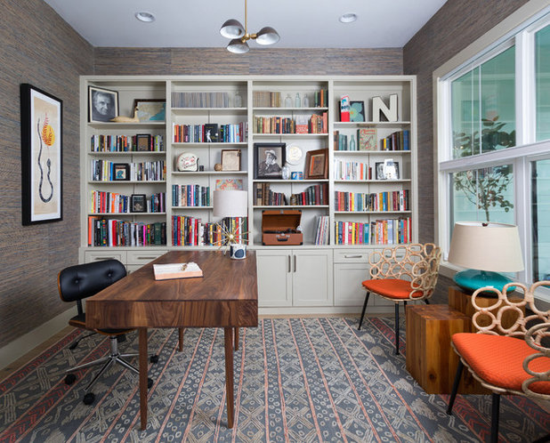 Transitional Home Office & Library by Murphy Moon Design