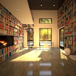 他の地域の広いモダンスタイルのおしゃれなアトリエ・スタジオ (白い壁、コンクリートの床、横長型暖炉) の写真