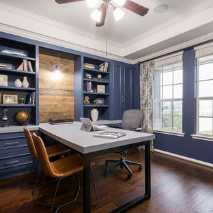 Inspiration for a transitional home office remodel in Houston