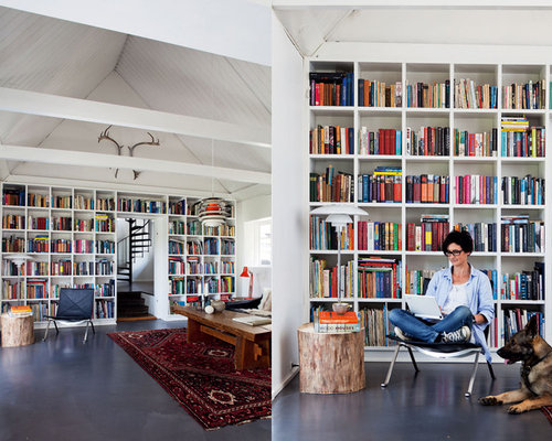 Contemporary home office idea in New York Home Library Design Ideas  Houzz
