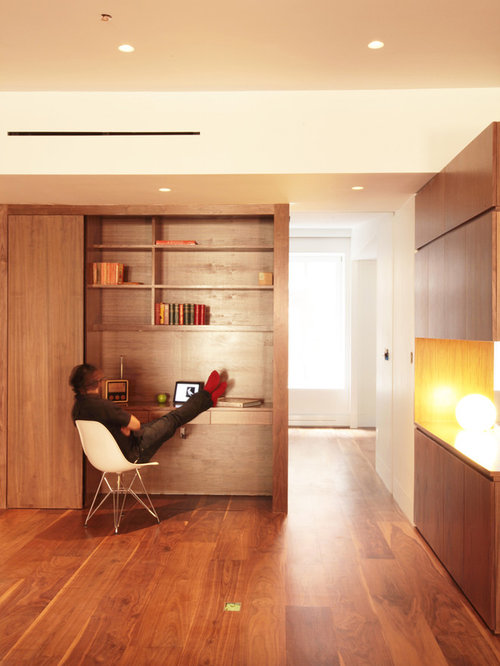 home office flooring. minimalist builtin desk dark wood floor home office photo in new york with white flooring
