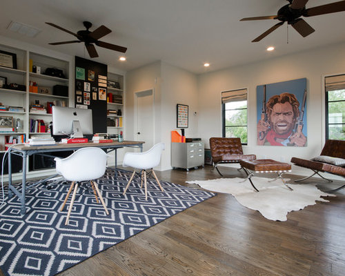 Inspiration For A Contemporary Home Office Remodel In Austin With White Walls