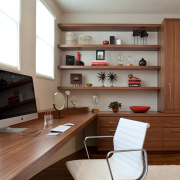 Modern Home Office with Built-in Desk and Storage