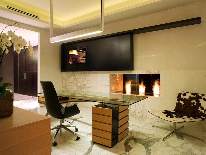 Modern Home Office by Urban Concepts Modern Fireplace Design