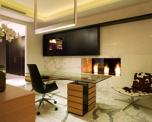 Office With Fireplace | Houzz