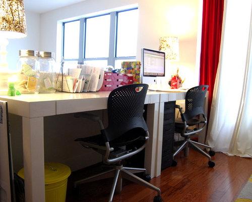 Lacquered White Parsons Desks Houzz