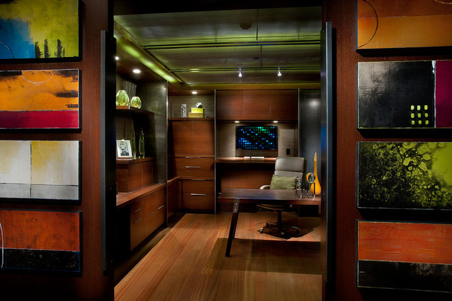Contemporary Home Office by IMI Design, LLC