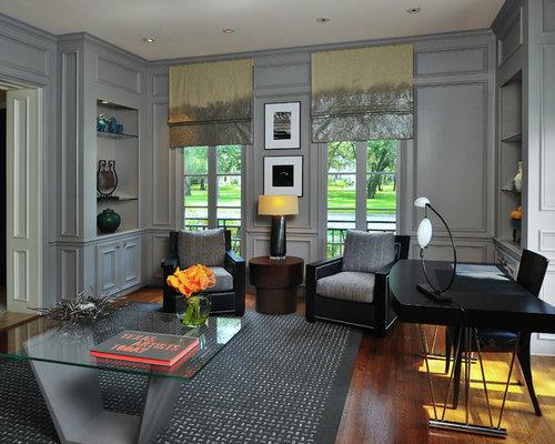 Inspiration For A Victorian Freestanding Desk Dark Wood Floor And Brown  Floor Home Office Remodel In